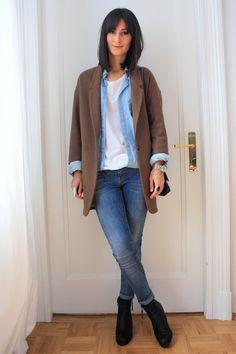 Golestaneh - Street Style: street style 0241: denim shirt, skinny jeans & oversized boyfriend coat