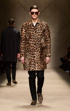 Spotted animal print caban and animal print sunglasses on the runway of the Burberry A/W13 Menswear show