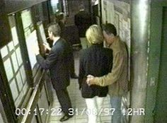 This image made from CCTV footage shows Diana with Dodi Fayed (right) and bodyguard Trevor Rees-Jones (left) and driver Henri Paul at the Ritz Hotel in Paris shortly before Diana, Fayed and Paul died