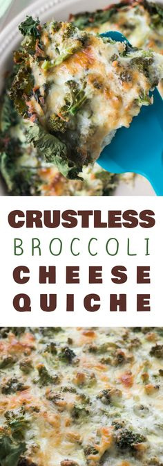 Crustless Broccoli Cheese Quiche is a easy dinner recipe your family is going to love. Instead of the traditional pie crust, you use kale to line the bottom of the casserole dish. Broccoli Quiche, Broccoli Dishes, Broccoli And Cheese, Broccoli Casserole, Casserole Dishes, Frozen Broccoli, Steamed Broccoli, Casserole Recipes, Brunch Recipes