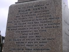 Brentwood, Essex does have a martyr called William Hunter who was burned at the stake at the age of 19 for the heinous crime of reading the scriptures, which he would not give up even for ready money.