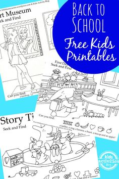 Back to School free kids printables