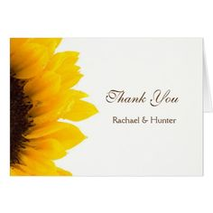 Rustic Sunflower Wedding Thank you Card
