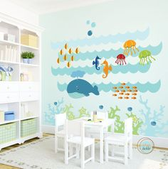 Kids Wall Decal, Under The Sea, Extra Large, Nursery Artwork, Wall Sticker for Baby Room, Play Room Decals, Whale, Fish, Nautical. $189.00, via Etsy.