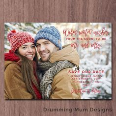 Modern Christmas Save the Date Photo Card by DrummingMumDesigns
