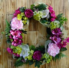Silk Floral Grapevine Wreath  Painted Magnolia by NaturesTrueArt, $110.00