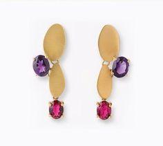 Amethyst & Garnet Earring in met finish gold plated silver