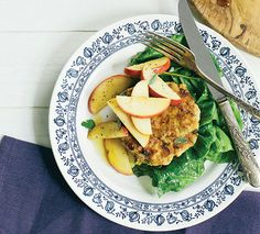 These protein-rich clean chicken patties are kissed with just a touch of maple syrup and topped with fresh, sweet cinnamon-spiced apples for a mealthat works equally well for breakfast, lunchor dinner.