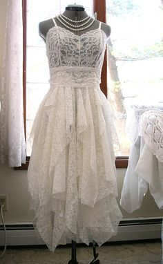Cream Off White Ivory tattered alternative bride by LilyWhitepad
