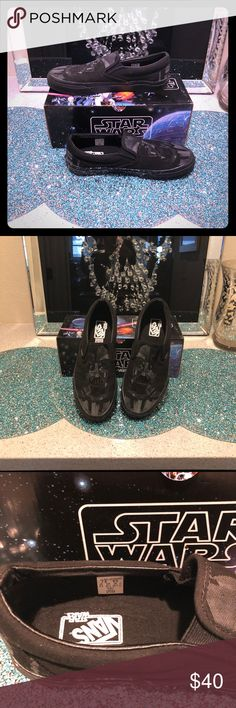 STAR WARS DARTH VADER VANS!!!!!! HTF!!! If you're a Star Wars fan, you need these shoes!   They have been worn a couple times, but you'd never know it! Bottoms are clean!   Comes with box!!!   100% AUTHENTIC!!!!! Vans Shoes Flats & Loafers