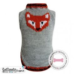 Pull Renard sweetie dog fox dog clothes vêtement chien knit www.sweetiedog.com