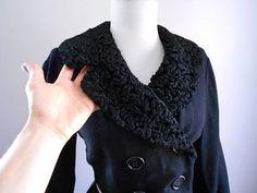 Vintage 1950s 1960s Cropped Black Persian Wool by bluebarnvintage