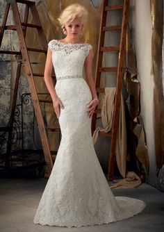 BRIDAL GOWNS FROM MORI LEE BY MADELINE GARDNER 1901 Venice Lace Appliques on Net