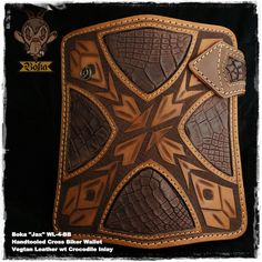 "Boka ""Jax"" WL-4-BB Cross Hand Tooled Carved Vegetable Tanned Cow Leather with Crocodile Hide Inlay Biker Trucker Wallet"