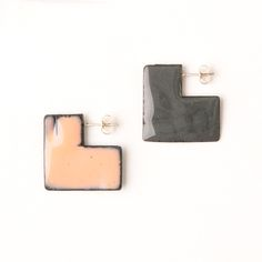 'Enfold' earrings - square Stormcloud & Light Pink (double sided so that the same colour faces outwards) vitreous enamel, copper & sterling Silver Vitreous Enamel, Square Earrings, Copper, Faces, Victoria, Jewellery, Sterling Silver, Pink, Jewels