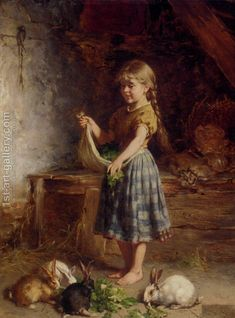 Beautiful art Oil painting heinrich hirt - Young girl feeding the rabbits canvas Art And Illustration, Illustration Inspiration, Old Paintings, Paintings I Love, Beautiful Paintings, Vintage Paintings, Art Texture, Rabbit Art, Bunny Rabbit