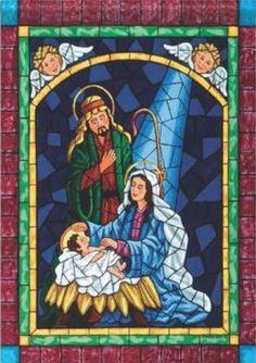 New for Mosaic Nativity Flag Christmas Tree Bows, Christmas Nativity Scene, Xmas Ornaments, Xmas Tree, Nativity Scenes, Stained Glass Christmas, O Holy Night, House Flags, Flag Decor