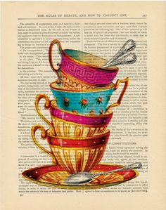 Tea cups  - vintage book page print on a page from an Antique 1880s Book Buy 3 get 1 Free. Teascups. $7.99, via Etsy.