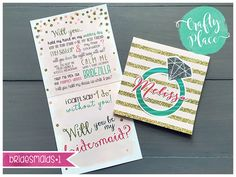Bridesmaid proposal card   6x6  custom made by CraftyPlaceDesigns