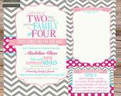 Twins Baby shower invitation family of four chevron stripe, hot pink, aqua & gray - digital file, printable. $13.00, via Etsy.