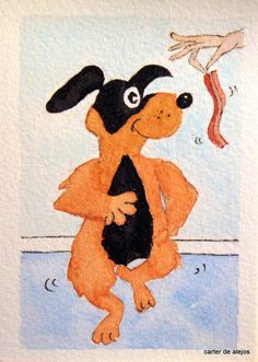 WILL DANCE FOR BACON original ACEO watercolor FREE SHIPPING