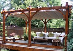 I want a screened patio this size. Outdoor Living Today - 12 x 16 Breeze Pergola with Retractable Canopy - Default Title - Outdoor Living - Yard Outlet Cedar Pergola, Outdoor Pergola, Outdoor Rooms, Backyard Patio, Backyard Landscaping, Outdoor Living, Canopy Outdoor, Pergola Lighting, Screened Patio