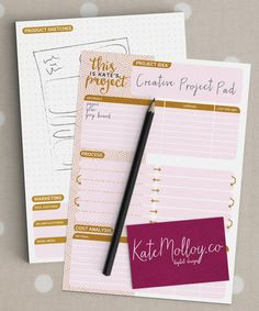 Printable project planner printable A5 craft by KateMolloyDesign