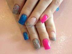 Acrylic nails with pink, blue and multi coloured gel polish