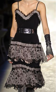 Chanel - black + shimmer + grey flowery lace