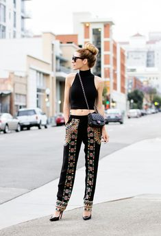 I couldn't do the midriff, but I could DEFINITELY do those pattern trousers!