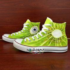 Men Women Converse Shoes Kiwi Fruit Hand Painted Canvas Sneakers