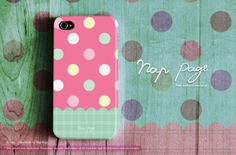 Apple iphone case for iphone iPhone 5 iphone 5s iphone 5c iphone 4 iphone 4s iphone 3Gs : Cute colorful polka dots on pink and green mint