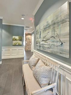 Wall color is Sea Pines from Benjamin Moore. 2016 paint color forecasts and trends. Image via Heather Scott. #CoastalDecor