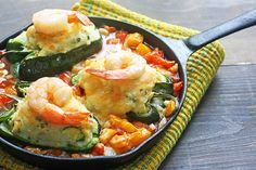 Potato-Stuffed Poblanos with Shrimp