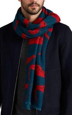 NEW Criminal Men/'s Blue /& Charcoal Grey Striped Ribbed Designer Scarf  RRP £19
