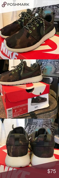 Nike Roshe Camo Sold Out Sneakers Shoes Exc Cond! Nike Roshe Camo Sold Out Sneakers Shoes Excellent condition.  Only worn maybe 3x.  Size 7.  Better buy these fast!😘 comes with the original box. Nike Shoes Athletic Shoes