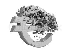 Stock image of 'Rendered image of a crumbling Euro symbol'