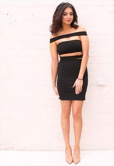 Cut Out Off The Shoulder Bardot Bodycon Mini Dress in Black