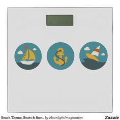 Beach Theme, Boats & Anchor Design Bath Scale Bathroom Scale