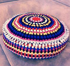 Crochet pouf with pompoms ❤️