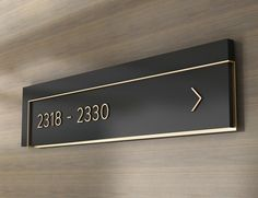 hotel signage hotel signage Number directories in painted acrylic and brushed brass. Door Signage, Hotel Signage, Directional Signage, Office Signage, Wayfinding Signs, Exterior Signage, Backlit Signage, Environmental Graphic Design, Environmental Graphics