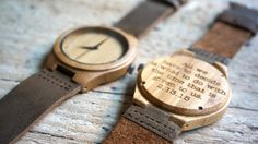 This listing includes a personal note / message laser-engraved on the back of the watch ! The wooden watch combines a high quality Japan quartz movement with an eco friendly material, bamboo, ...