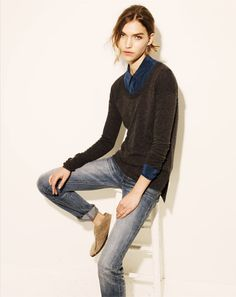 for Madewell. (for the day I look like a waif in a sweater & button up? HA!)