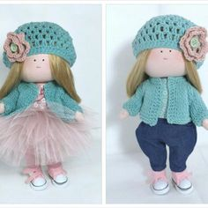 Lalka w wiosennym berecie Fabric Dolls, Beret, Etsy Handmade, Harajuku, Little Girls, Kids Room, Great Gifts, Crochet Hats, Retro
