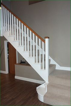 Scatterdells Lane Staircase: cut string softwood flight of stairs. Timber Handrail, Stair Spindles, Curved Staircase, Staircase Design, Stair Builder, Oak Stairs, Stair Landing, Barn Living, Hallway Storage