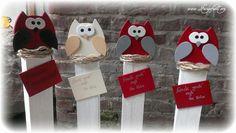 Die Eulen werden flügge!!! Eulen auf Holzpfosten von Feingefühl. Personalisierte Geschenke und mehr aus Holz  auf DaWanda.com