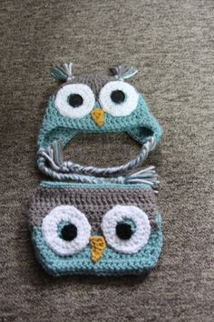 Blue and Grey Owl Hat and Diaper,2 pc Set diaper and hat set, Crochet Baby Photo Prop, Owl Ear Flap Hat,Baby Owl Hat and Diaper Cover, Baby by ArtfullyCreated4U on Etsy