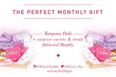 MyLadyBug box is a monthly period subscription service that delivers your monthly organic tampons and pads, plus sweets and treats just at the right time! Subscription Boxes For Girls, Gifts, Period, Adulting, Sweets, Organic, Products, Women, Sweet Pastries