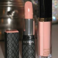 Revlon Colorburst in 070 Soft Nude, with Super Lustrous lip gloss in Peach Petal