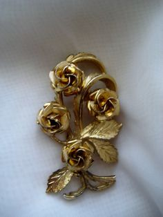 Coro Brooch Gold Tone Roses Signed Vintage by RepurposedTreasure, $10.00    ....SOLD